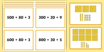 Three-Digit Numbers Expanded Form Matching Cards - Number, Place Value,  problem solving, maths mastery, year 3, fun maths, hundreds, tens, ones, numbe