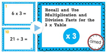 Multiplication Division Facts for 3 Times Table PowerPoint Test