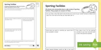 PE Cover Lesson - Sporting Facilities Activity Sheet - PE, KS3, KS4, Cover, Worksheets, Independent