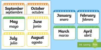 Months of the Year Flashcards English/Spanish - Months of the Year Flashcards - months, year, flashcards, cards, months of the yearenglish, flashard