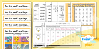PlanIt Year 5 Term 2B  Bumper Spelling Pack - Spellings Year 5, Y5, SPAG,  GPS, spelling, words, list, pack, medium term. spring term, bumper pack