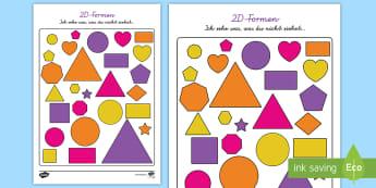 2D-Formen: Ich sehe was, was du nicht siehst... - Spiel, Spaß, Figuren, Seiten, Ecken, Flächen, Geometrie, ,German