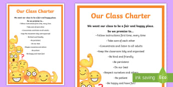 Class Charter Emoji Themed Display Poster - Sign, Management, Behaviour, Classroom, rules and reponsibilities, back to school