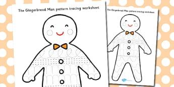 The Gingerbread Man Pattern Tracing Worksheet - gingerbread man