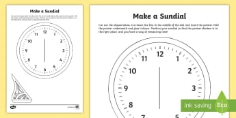 Make a Sundial Activity - measures, maths, sundial, print-out, time, template,Irish