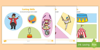 Circus Themed Cutting Skills Activity Sheets - Dinosaur Themed Cutting Skills Activity Sheets - cut, fine motor skills, motorskills, dinosuar, dins