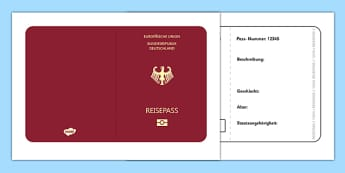 German Passport Template - german, Passport, Design, holiday, holidays, travel, passport design, fine motor skills, card template, holidays, water, tide, waves, sand, beach, sea, sun, holiday, coast