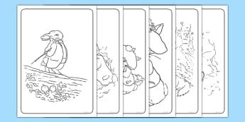 Beatrix Potter - The Tale of Benjamin Bunny Colouring Sheets - beatrix potter, benjamin bunny