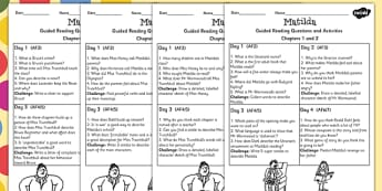 Guided Reading Sheets for Pupils to Support Teaching on Matilda - roald dahl, read, book