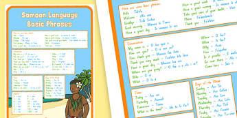Samoan Language Basic Phrases Large Display Poster