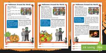 Halloween Around the World Differentiated Fact File - 31st October, Costumes, Pumpkins, Questions, Decode