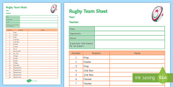Rugby Team Sheet A4 Display Poster - Rugby, KS3, Physical Education, team sheet, Display
