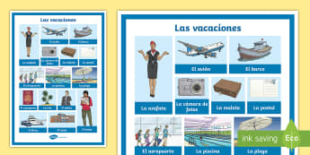 Holiday Travel Topic Display Poster - Spanish - Spanish, Vocabulary, KS2, holidays, travel, summer, trips, flying, travelling, display, poster, clas