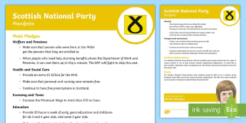 Scottish National Party 2017 Manifesto Child-Friendly Guide - Elections, politics, politicians, Scottish, government, Holyrood, voting, child friendly language, s