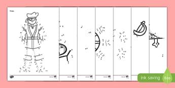 Pirate Themed Alphabet Dot-to-Dot Activity Sheet Pack - pirate, alphabet, dot to dot, activity, worksheet