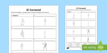 Carnival Costumes Word and Picture Matching Activity Sheet - Carnival, Spanish, languages, matching, costumes, word, picture, el carnaval