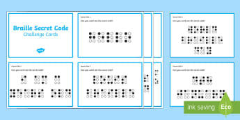 Braille Secret Code Challenge Cards - KS1/2 World Braille Day  (4.1.17), braille, Louis Braille, code, sequence, pattern, inventor, profes