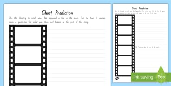 Year 5 and 6 Chapter Chat Ending Prediction Activity Sheet To Support Teaching On Ghost by Jason Reynolds - chapter chat, year 5, year 6, ghost, jason reynolds, prediction, filmstrip, worksheet