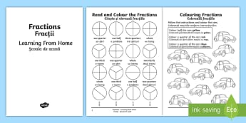 Year 2 Fractions Learning From Home Maths Activity Booklet English/Romanian - Learning from home Maths Workbooks, fractions, year 2, thirds, quarters, halves,Romanian-translation