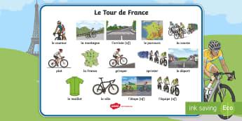Set de mots : Le Tour de France - lecture, cycle 2, vélo, cyclisme, écriture, reading ,French