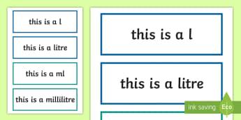 Capacity Units of Measurement Display Labels - measures, maths, units of measurement, labels, display, capacity,Irish
