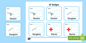 Toy Hospital ID Badges - hopital toy, toys, badges, ID, dolly, cars, balls, dolls, teddy, toy animals, identification
