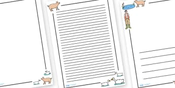 Page Borders to Support Teaching on Pig in the Pond - Pig in the Pond, Martin Waddell, resources, Very Hot Day, Neligan, Neligan's pig, ducks, geese, pond, animals, story, story book, story book resources, story sequencing, story resources, Literacy,