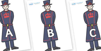 A-Z Alphabet on Beefeaters - A-Z, A4, display, Alphabet frieze, Display letters, Letter posters, A-Z letters, Alphabet flashcards