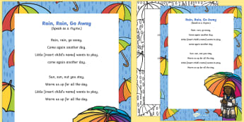 Rain, Rain, Go Away Rhyme - EYFS Weather, sun, rain, thunder, lightening, snow, wind, rainbow, stormy, singing, song time, nurse
