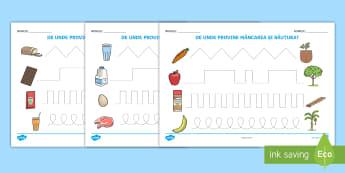 Elemente grafice: De unde provin alimentele? Fișe de activitate - alimente, alimentație, proveniența alimentelor, comunicare, alimentație sănătoasă,Romanian