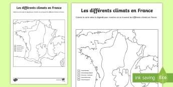 Feuille d'activités : Les différents climats en France - Cartes géographiques, map,cycle 2, cycle 3,  KS2, climat, France, climate, activity sheet, feuille,