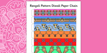 Rangoli Pattern Diwali Paper Chain - diwali, pattern, paper craft