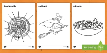 Halloween Colouring Pages Gaeilge - Oíche shamhna, ocáidí speisialta, dathúcháin, october, deireadh fomhair,Irish