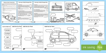 Transport Theme Day Activity Pack - cars, planes, boats, bikes, trains, family, days in, holidays, travel