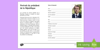 French President Identity Form Activity Sheet French  - KS4, French Elections, result, résultat, élections, worksheet, president, président, France, curr