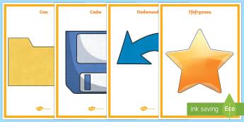 Poster Arddangos Eiconau Cyfrifiadurol Pwysig - copy, paste, cut, delete, favourites, home, redo, undo, copi, pastio, ffefrynnau, cartref, dileu, da
