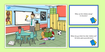 School Scene and Question Cards Polish Translation - polish, school, questions, comprehension pack