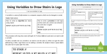 Using Variables to Draw Stairs in Logo Activity Sheet - worksheet, computing, Coding, program, algorithm, variable, procedure, stairs, logo, repeat