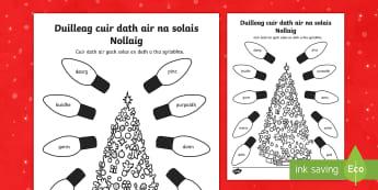 Cfe- A' Chiad Ire- Duilleag cuir dath air na solais Nollaig  - Cfe, A' Chiad Ire, Gaelic, Nollaig, Pacaid, Cànan, Matamataigs, Lethbhreacan,