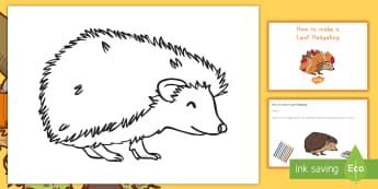 Leaf Hedgehog Craft Instructions - fall, craft, paper, autumn, hedgehog