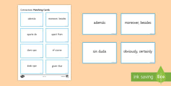 Connectives Matching Cards Spanish