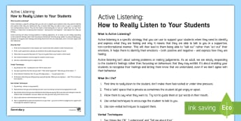 Active Listening for Behaviour Management Adult Guidance - Behave, behaviour management, classroom management, active listening, counselling