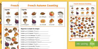 Autumn Counting Activity Sheet French - French, Autumn, Numeracy, Numbers, Harvest, KS2, Automne