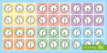 Half Past Times Matching Cards -  - Measurement, measuring, measure, time, oclock, o'clock, clock face, tell the time