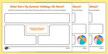 Summer Holiday Recount Planning Mind Map -Scottish, worksheet
