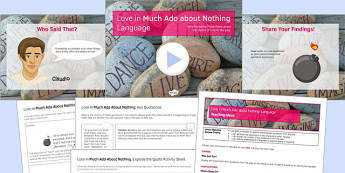 Love in Much Ado About Nothing Language Lesson Pack - language, shakespeare
