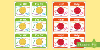Table Help Signs - Behaviour management, rules, table rules, I'm ok, I need help, help signs, calming strategies, think what I am saying, count to 10, deep breath, good hands and feet