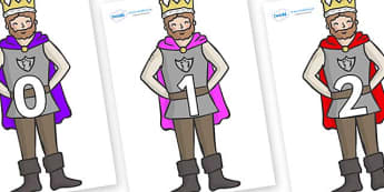Numbers 0-31 on Kings - 0-31, foundation stage numeracy, Number recognition, Number flashcards, counting, number frieze, Display numbers, number posters