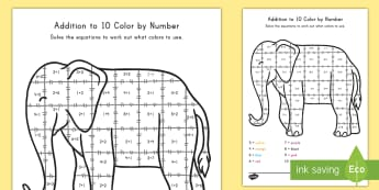 Addition To 10 Color By Numbers Activity Sheet - addition, math, addition to 10, color, coloring, art, color by numbers