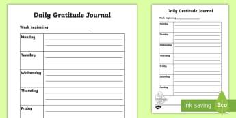 Daily Gratitude Diary Writing Activity Sheet - Positivity, thankfulness, growth mindset, positive thinking, brain training
